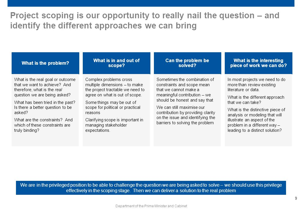 Project scoping is our opportunity to really nail the question – and identify the different approaches we can bring