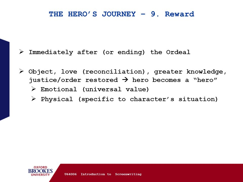 THE HERO'S JOURNEY – 9. Reward