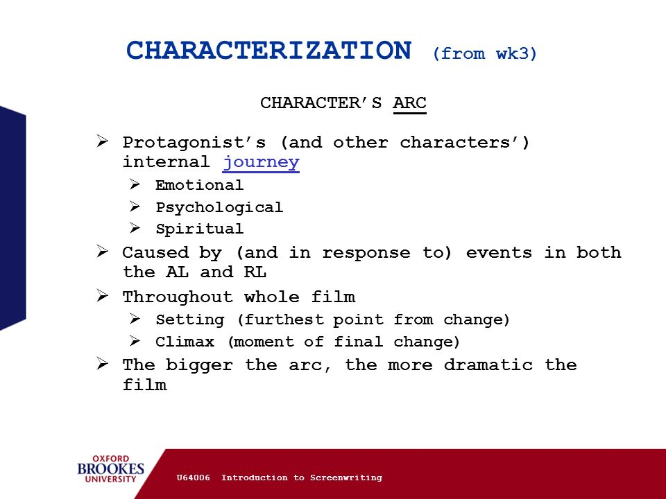 CHARACTERIZATION (from wk3)