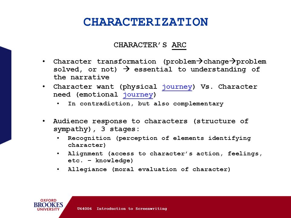 CHARACTERIZATION CHARACTER'S ARC