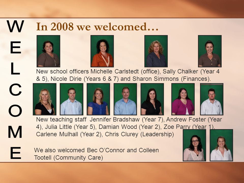 In 2008 we welcomed… WELCOME