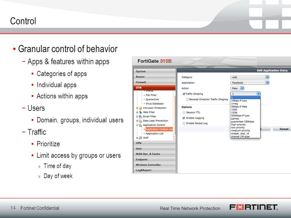 Granular control of behavior