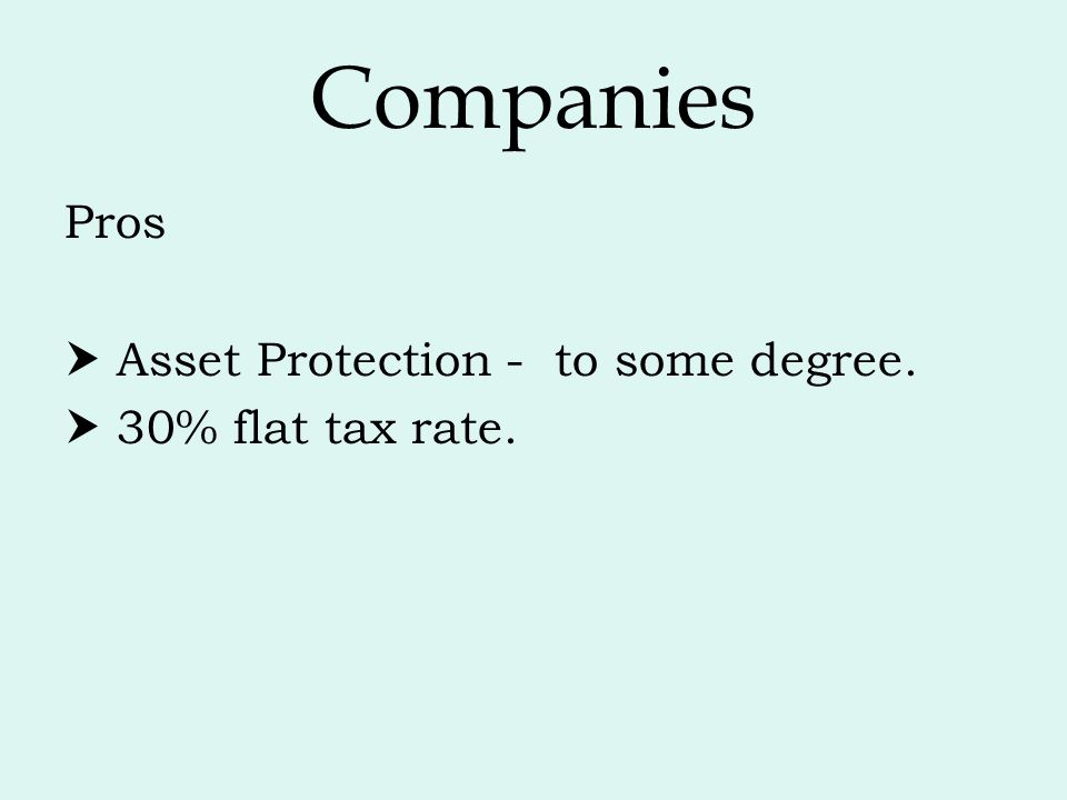 Companies Pros  Asset Protection - to some degree.