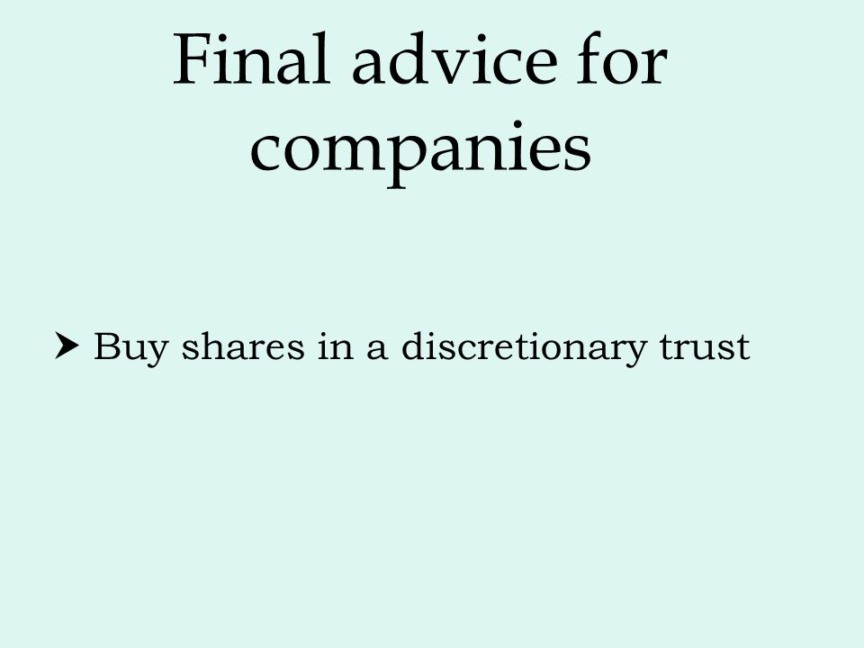 Final advice for companies