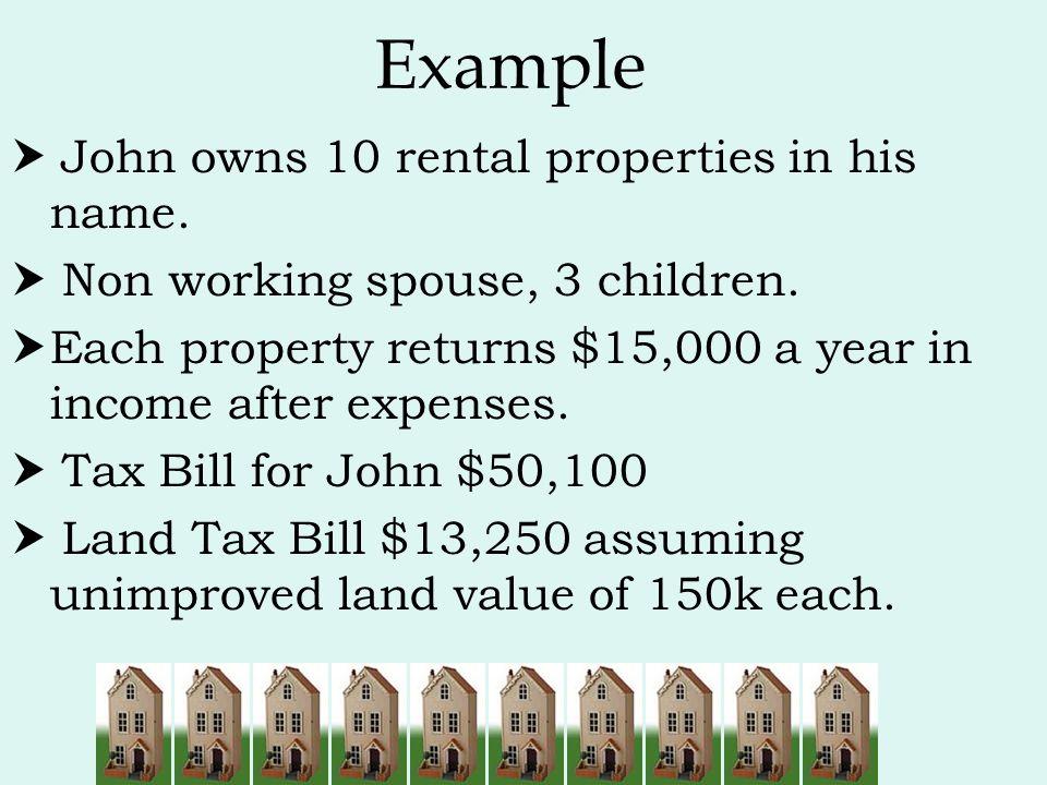 Example  John owns 10 rental properties in his name.