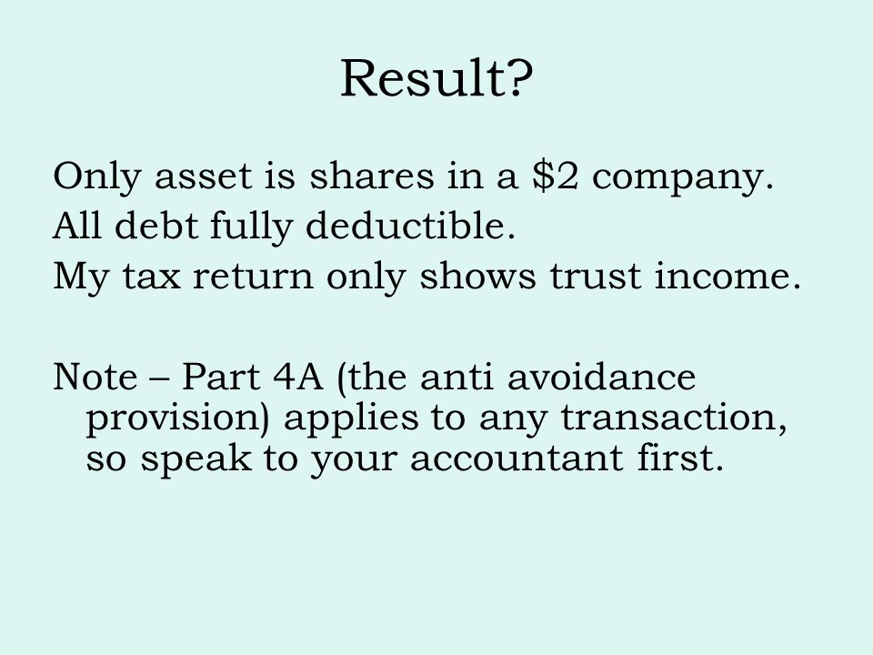 Result Only asset is shares in a $2 company.