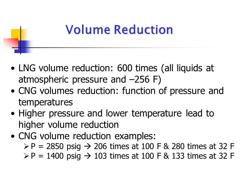 Volume Reduction LNG volume reduction: 600 times (all liquids at atmospheric pressure and –256 F)