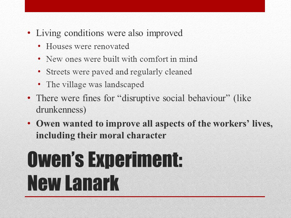 Owen's Experiment: New Lanark