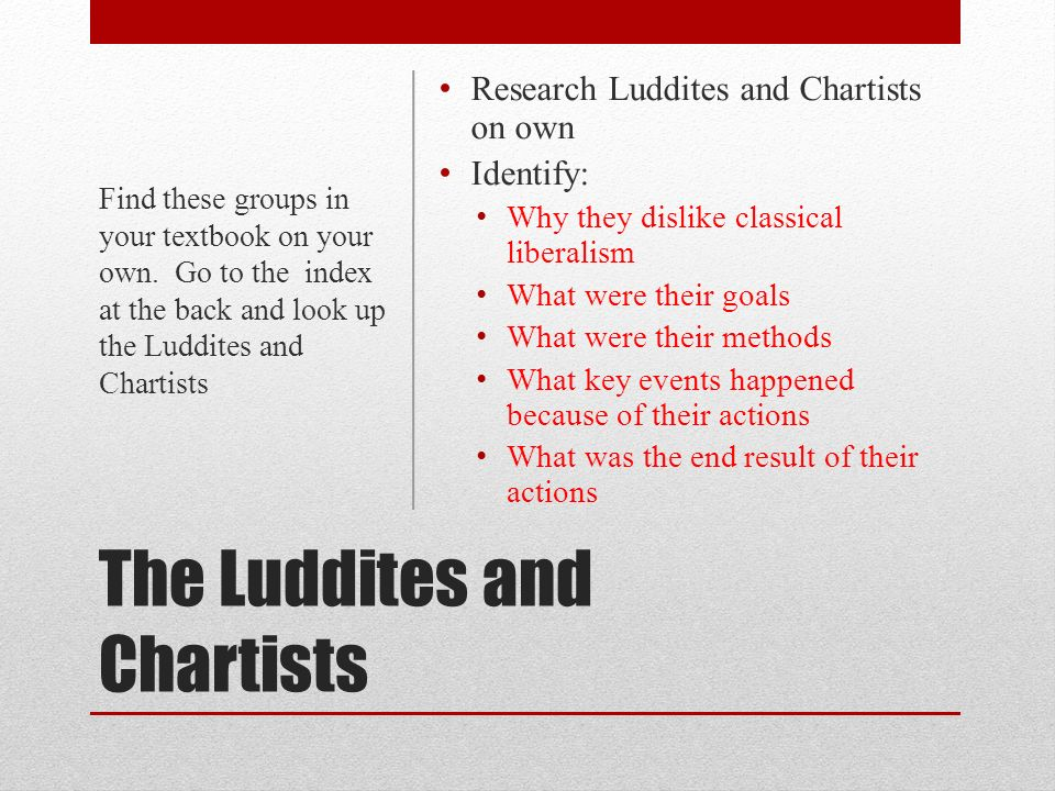The Luddites and Chartists