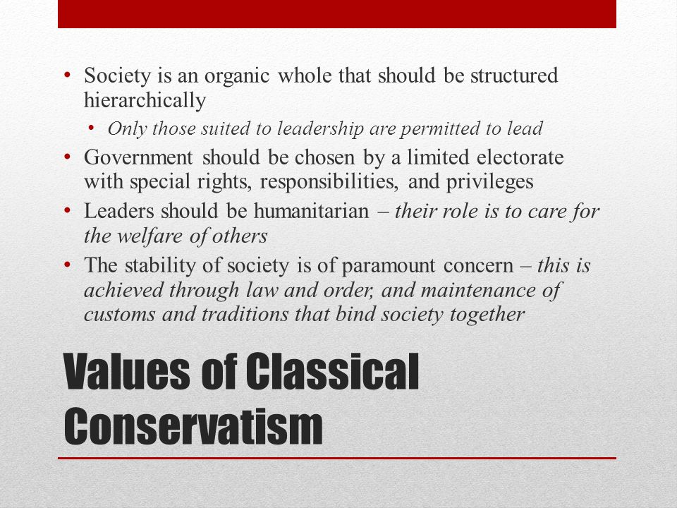 Values of Classical Conservatism
