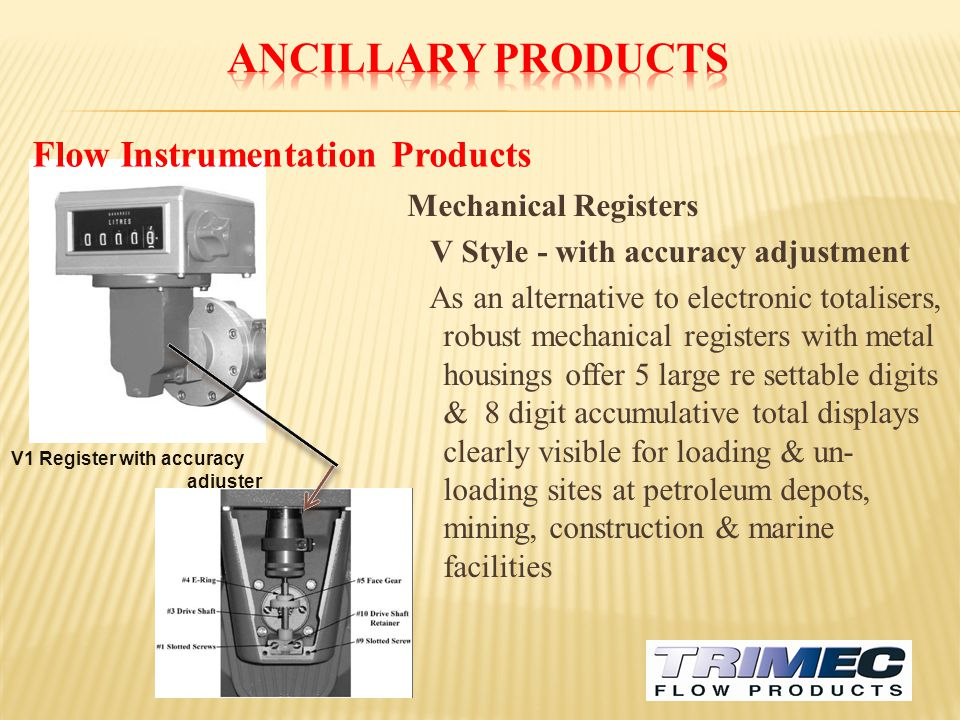 Ancillary Products Flow Instrumentation Products Mechanical Registers
