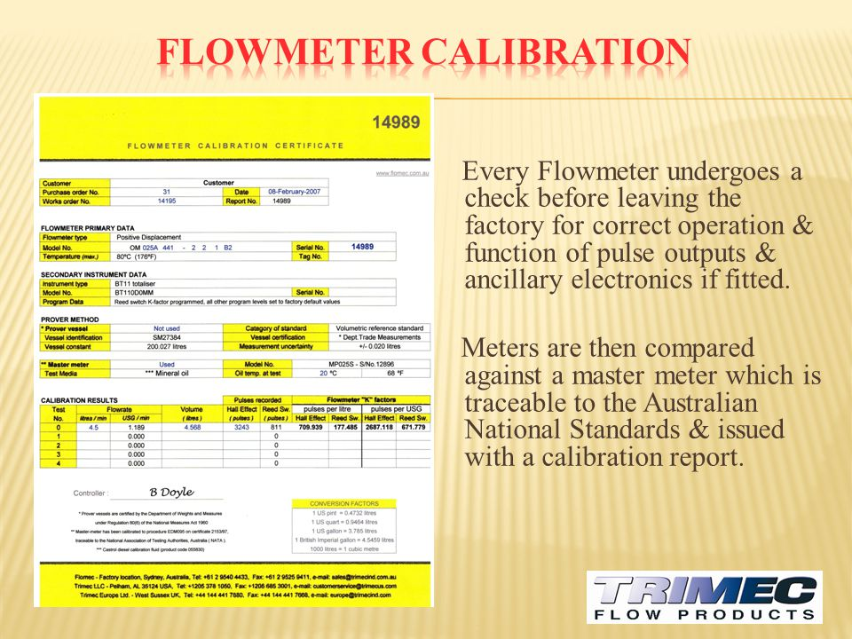 FLOWMETER CALIBRATION