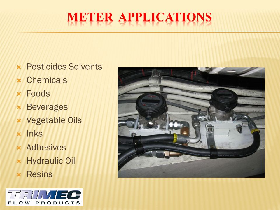 METER APPLICATIONS Pesticides Solvents Chemicals Foods Beverages