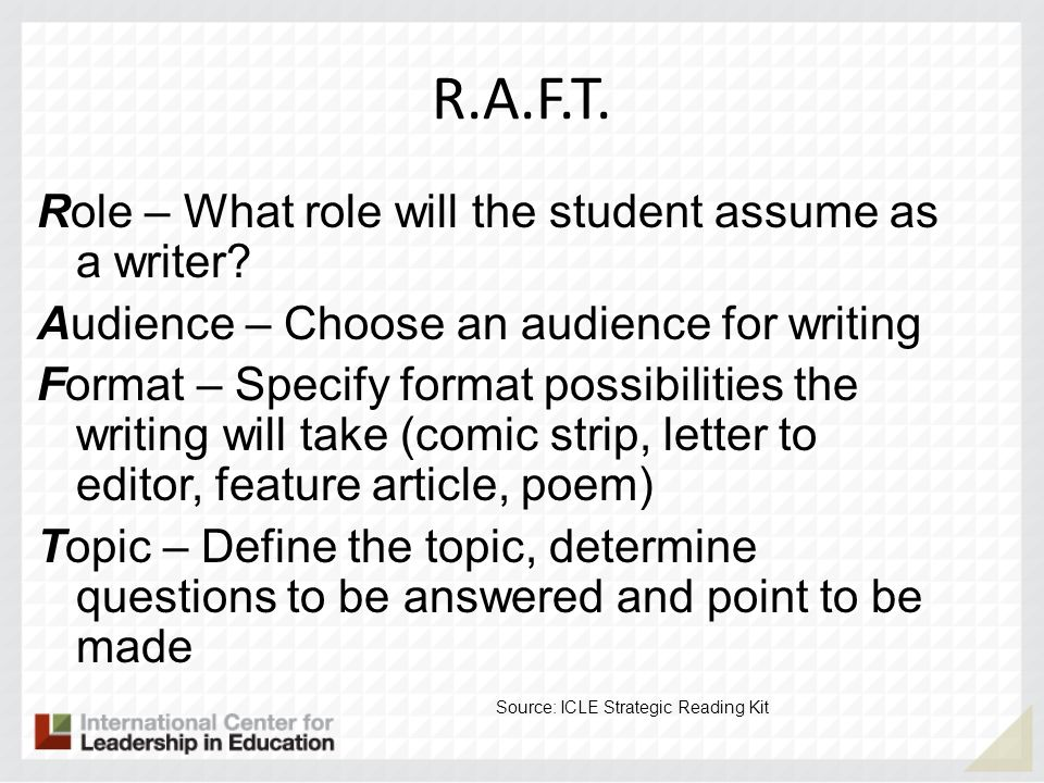 R.A.F.T. Role – What role will the student assume as a writer