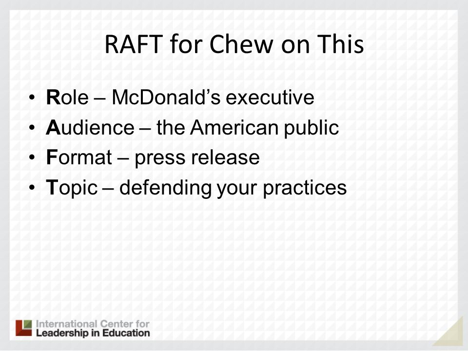 RAFT for Chew on This Role – McDonald's executive