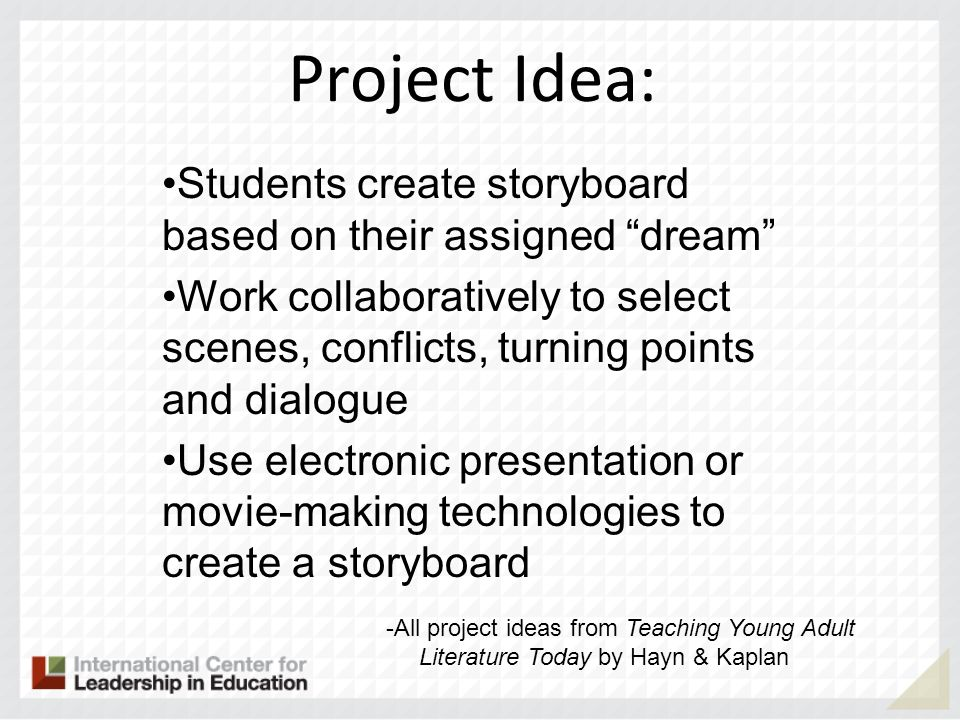 Project Idea: Students create storyboard based on their assigned dream
