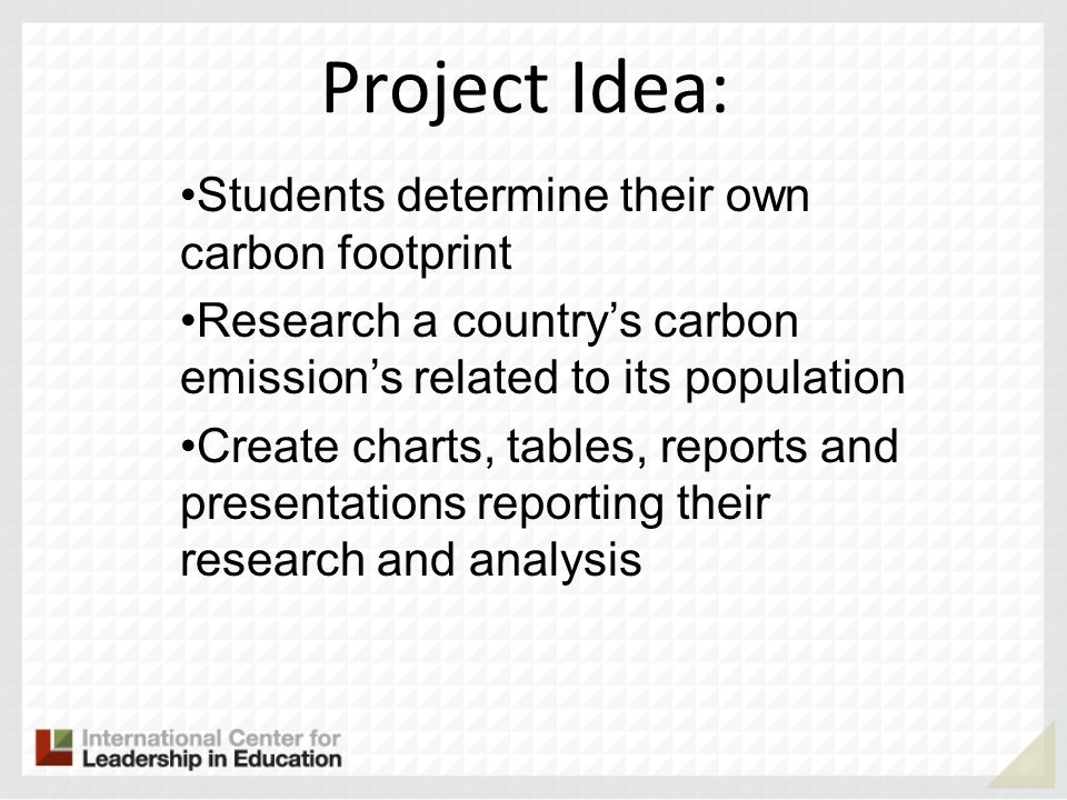 Project Idea: Students determine their own carbon footprint