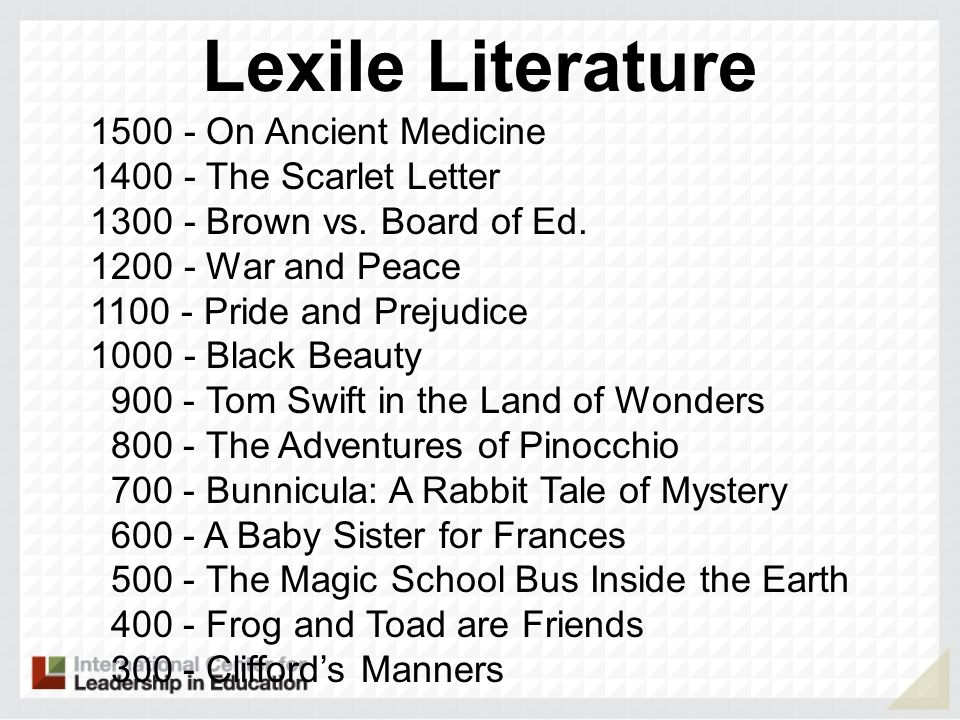 Lexile Literature 1500 - On Ancient Medicine 1400 - The Scarlet Letter