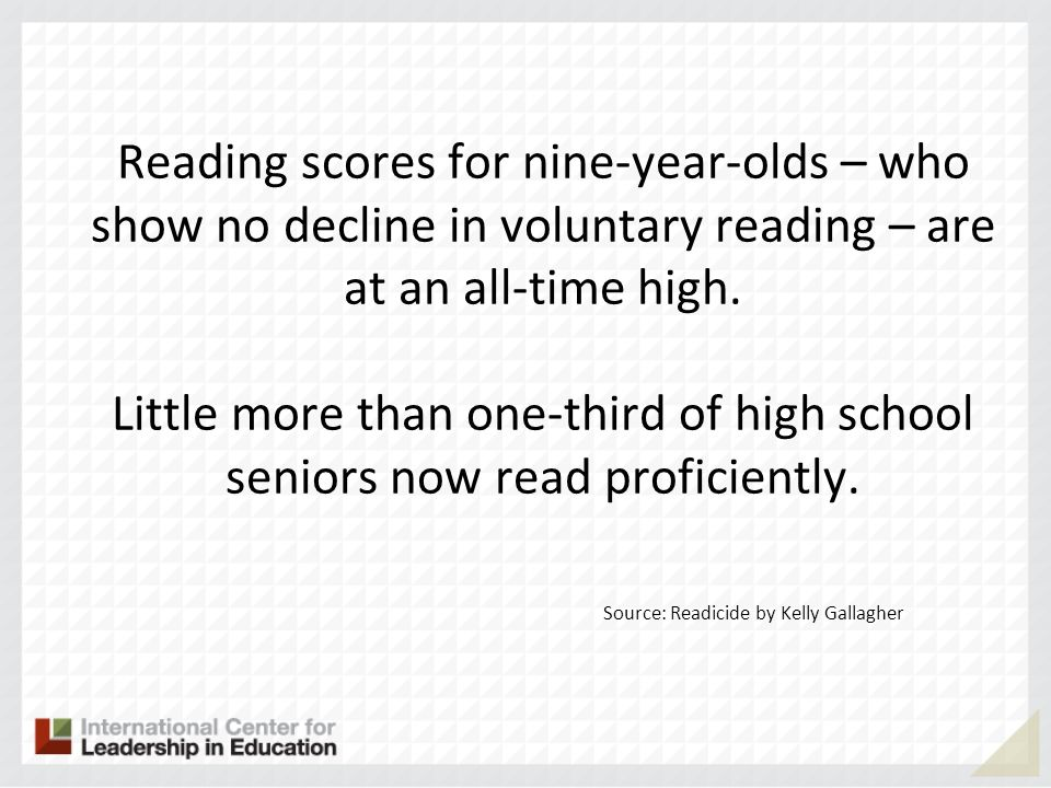 Reading scores for nine-year-olds – who show no decline in voluntary reading – are at an all-time high.