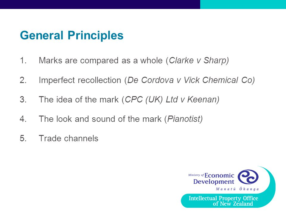 General Principles Marks are compared as a whole (Clarke v Sharp)