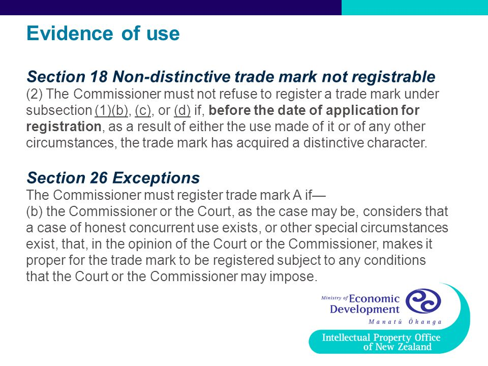 Evidence of use Section 18 Non-distinctive trade mark not registrable