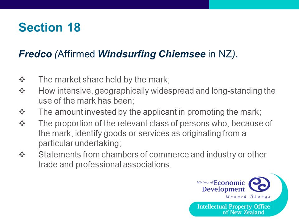Section 18 Fredco (Affirmed Windsurfing Chiemsee in NZ).