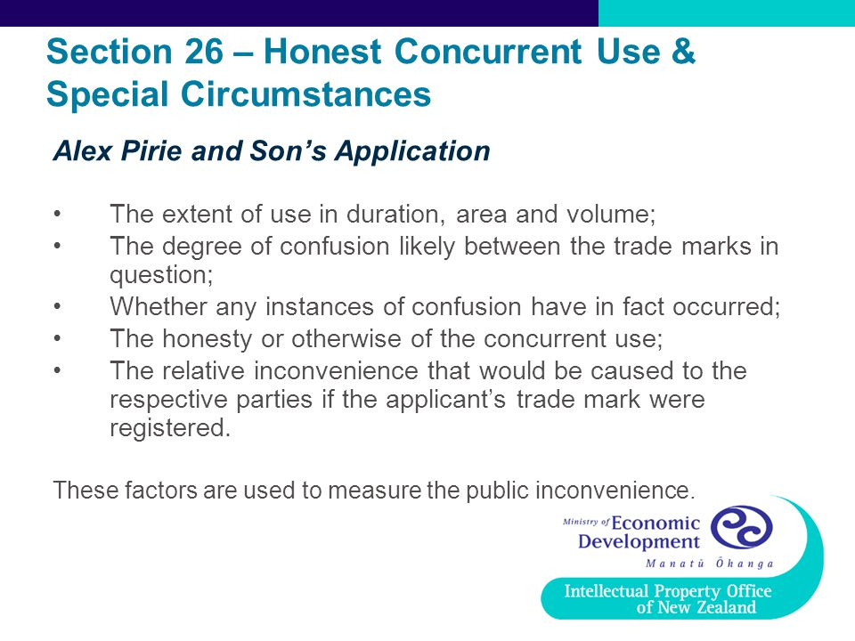 Section 26 – Honest Concurrent Use & Special Circumstances