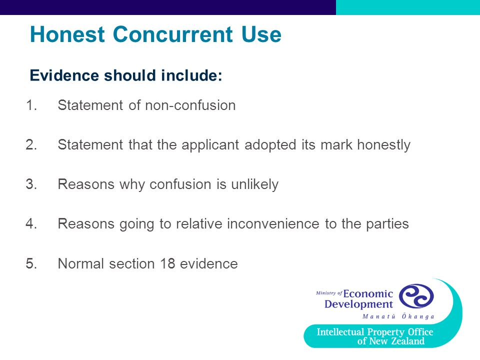 Honest Concurrent Use Evidence should include: