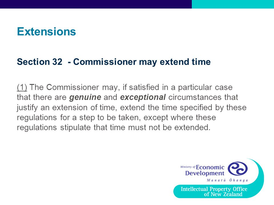 Extensions Section 32 - Commissioner may extend time
