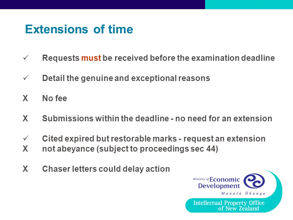 Extensions of time Requests must be received before the examination deadline. Detail the genuine and exceptional reasons.