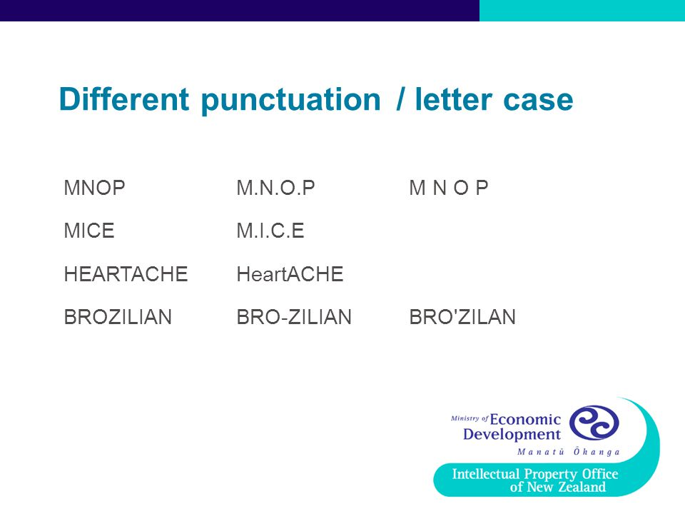 Different punctuation / letter case