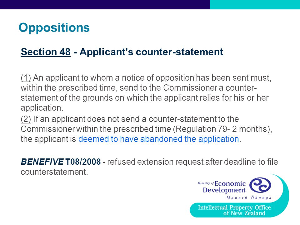 Oppositions Section 48 - Applicant s counter-statement