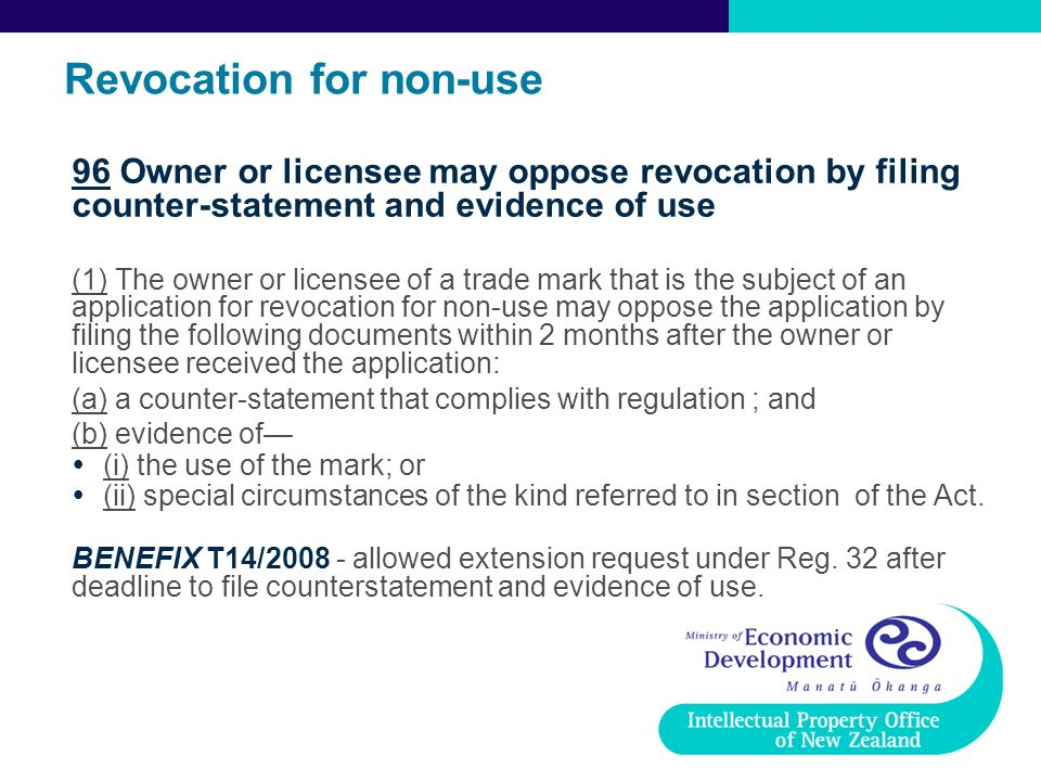 Revocation for non-use