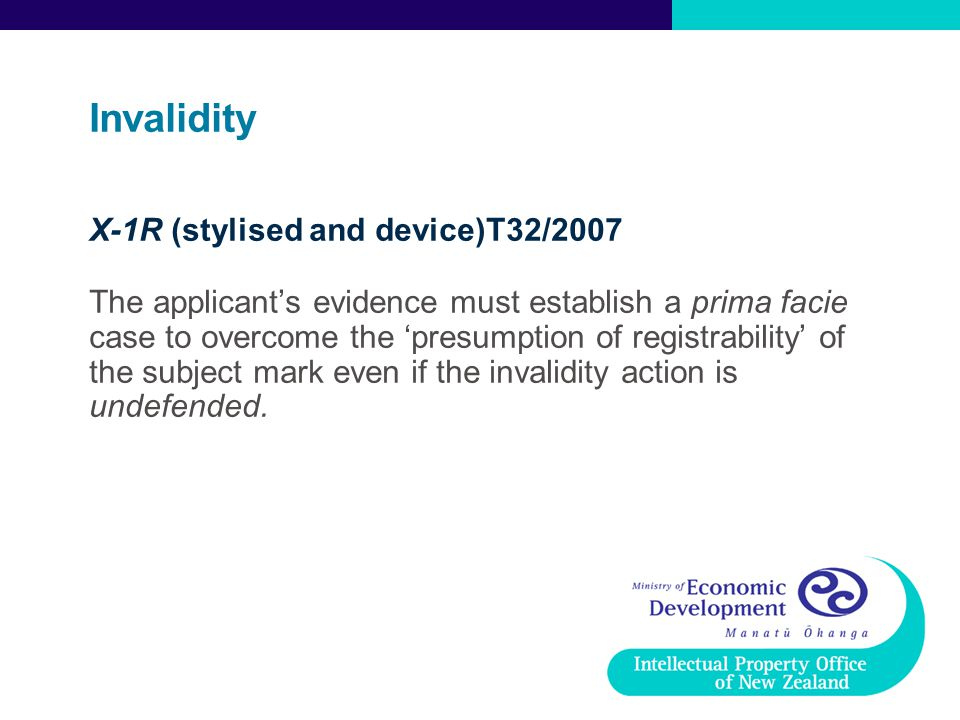 Invalidity X-1R (stylised and device)T32/2007