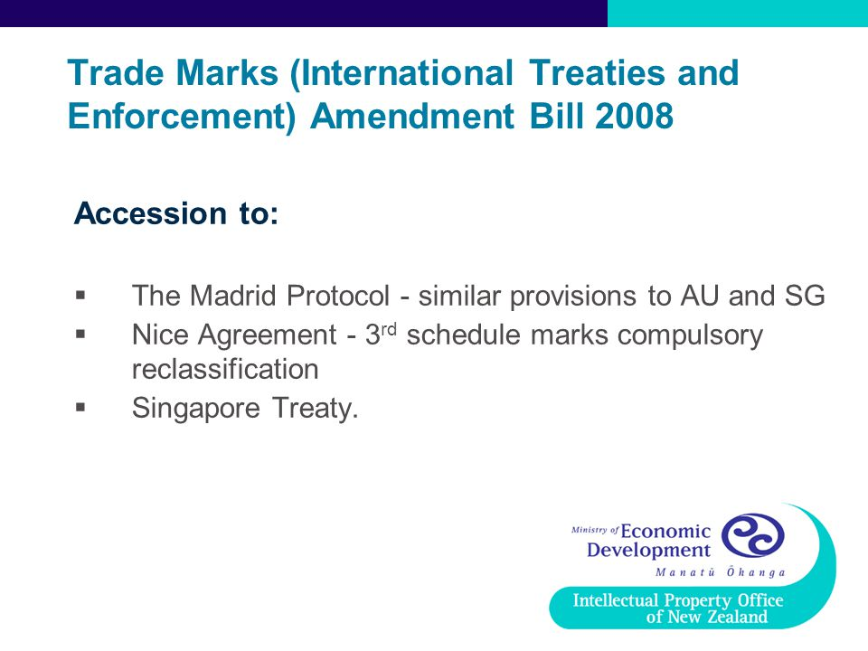 Trade Marks (International Treaties and Enforcement) Amendment Bill 2008