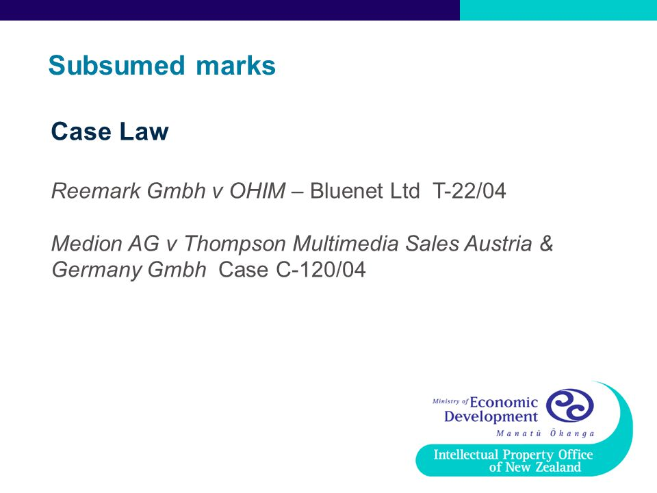 Subsumed marks Case Law Reemark Gmbh v OHIM – Bluenet Ltd T-22/04