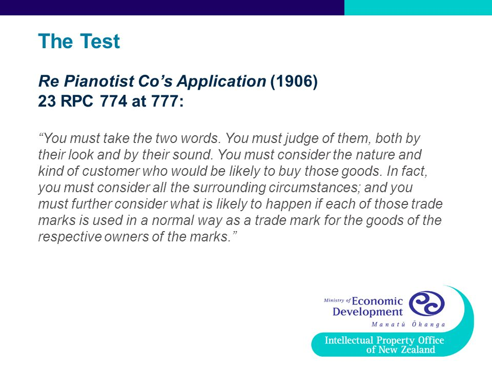 The Test Re Pianotist Co's Application (1906) 23 RPC 774 at 777: