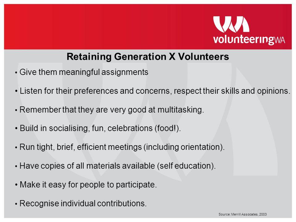 Retaining Generation X Volunteers
