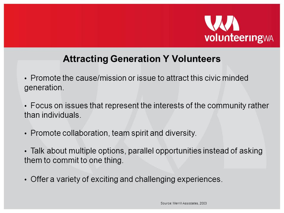 Attracting Generation Y Volunteers