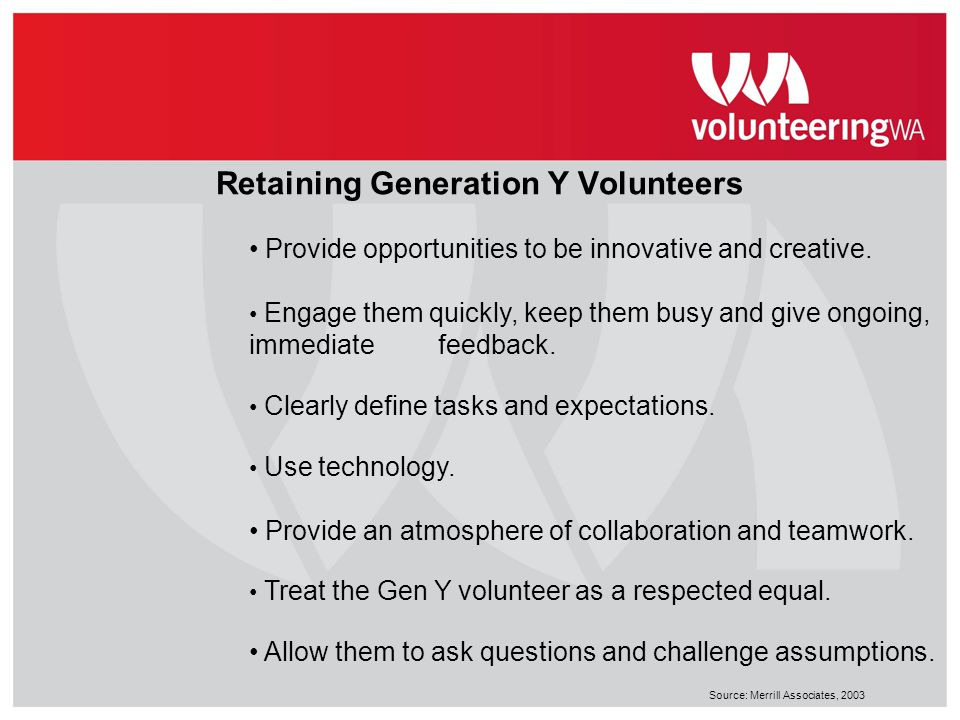 Retaining Generation Y Volunteers