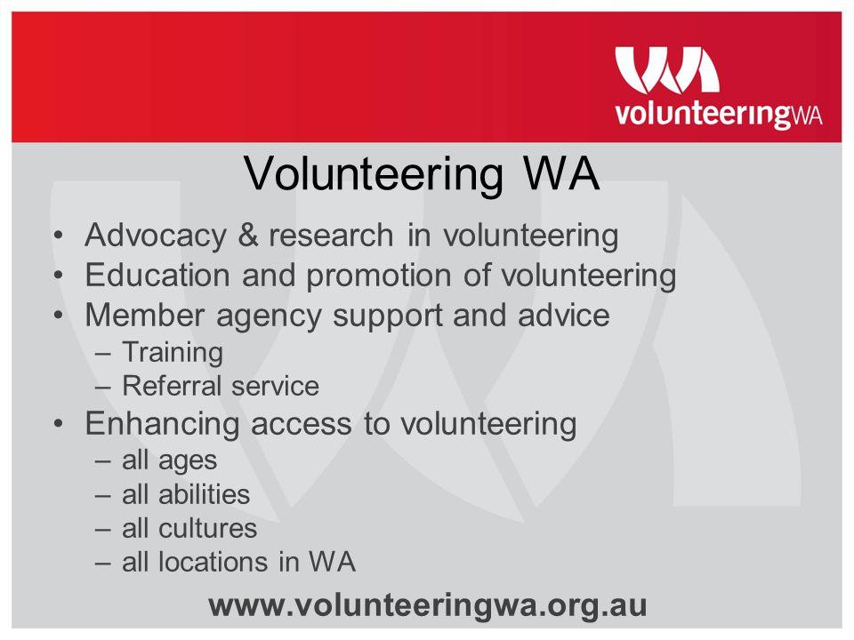 Volunteering WA Advocacy & research in volunteering