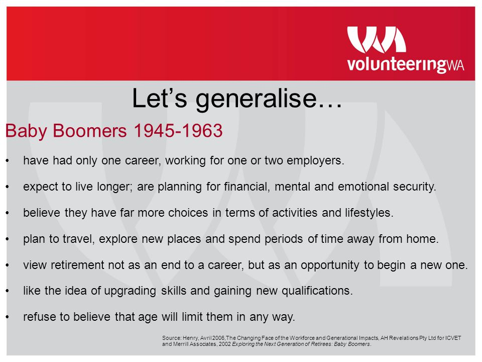 Let's generalise… Baby Boomers 1945-1963