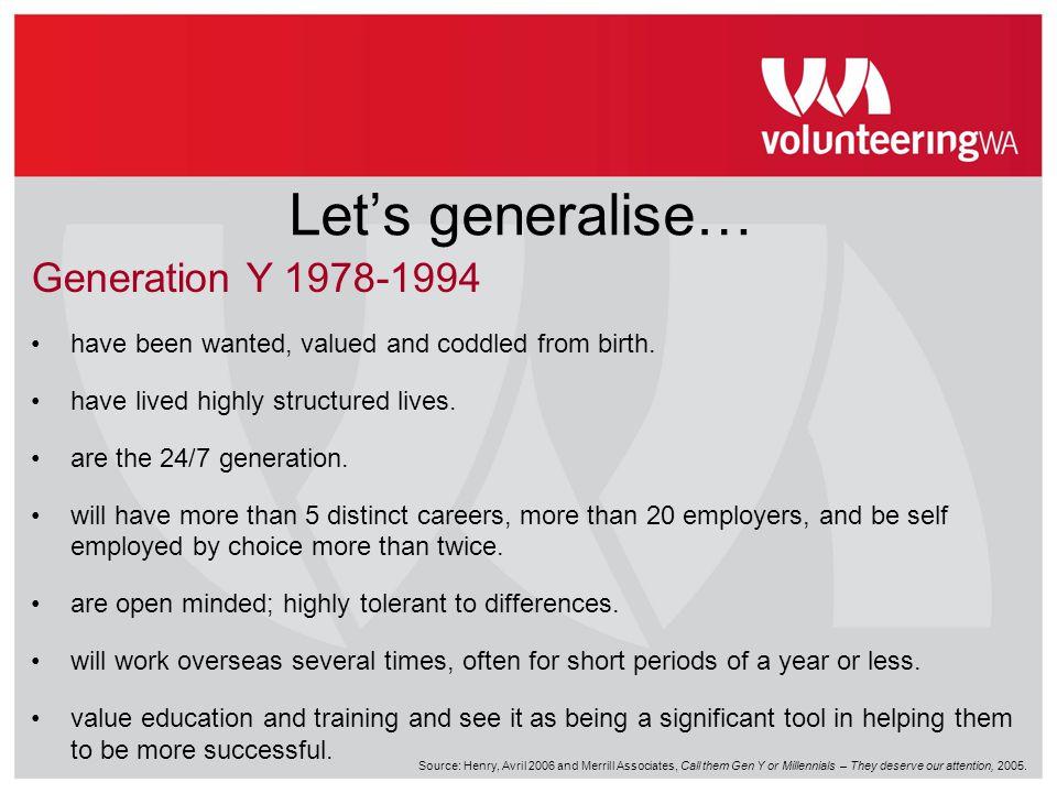 Let's generalise… Generation Y 1978-1994
