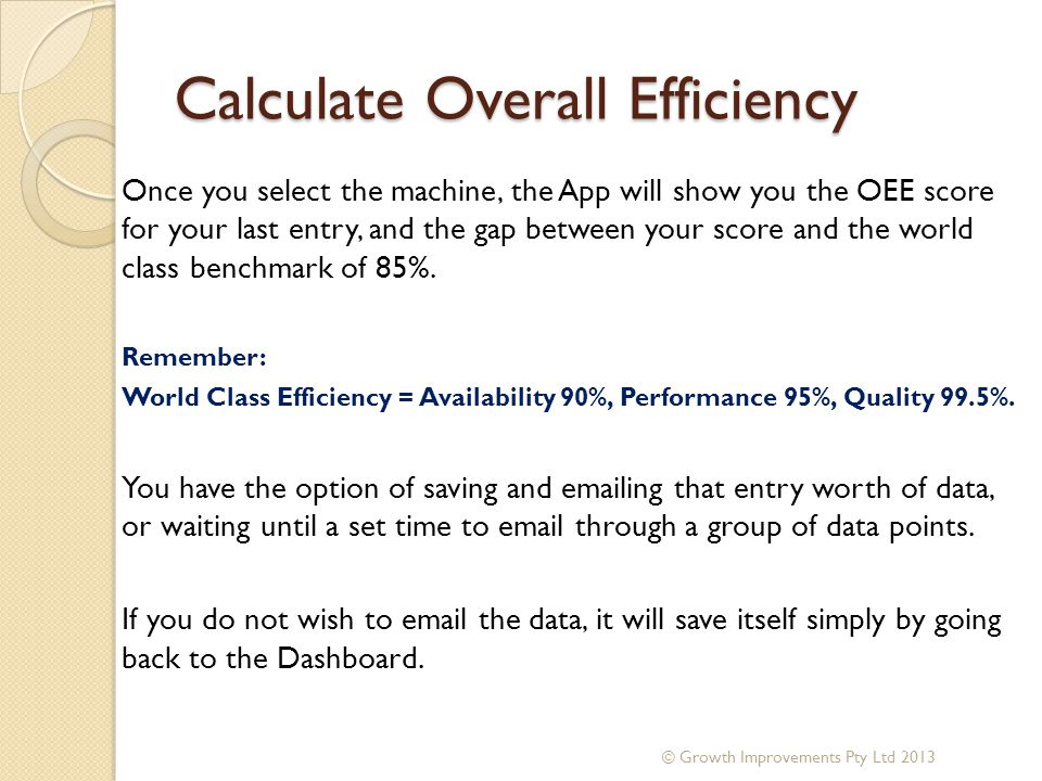 Calculate Overall Efficiency