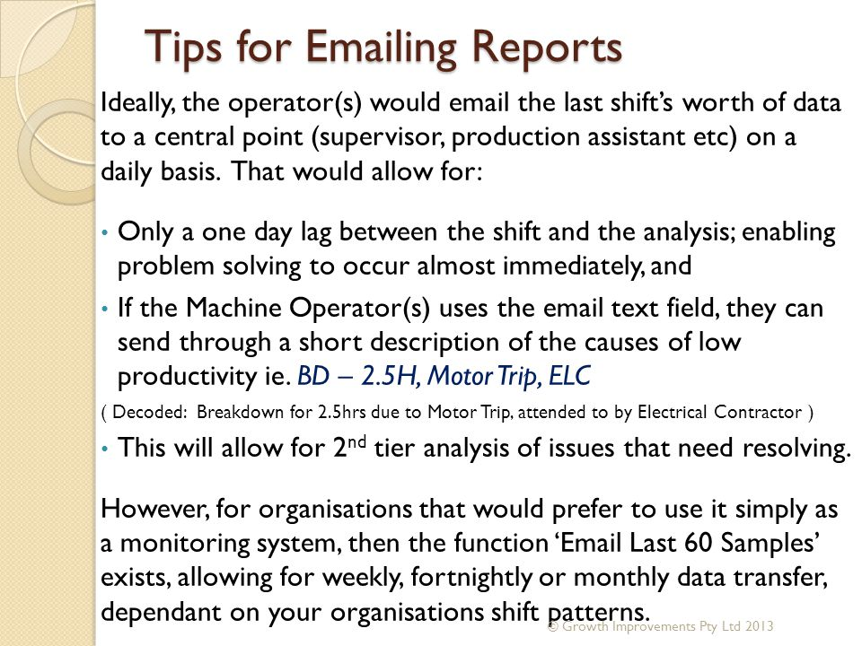 Tips for Emailing Reports