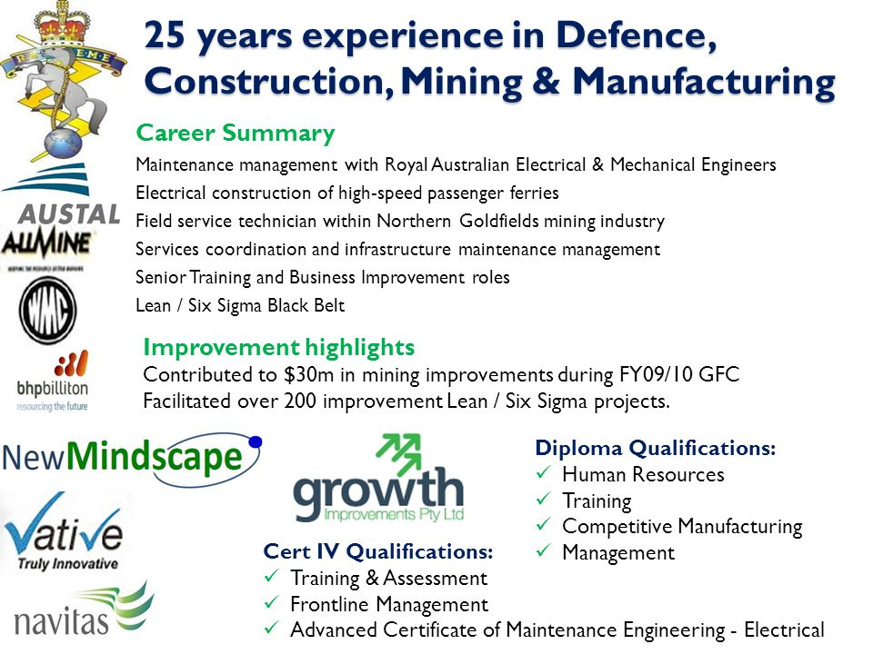 25 years experience in Defence, Construction, Mining & Manufacturing