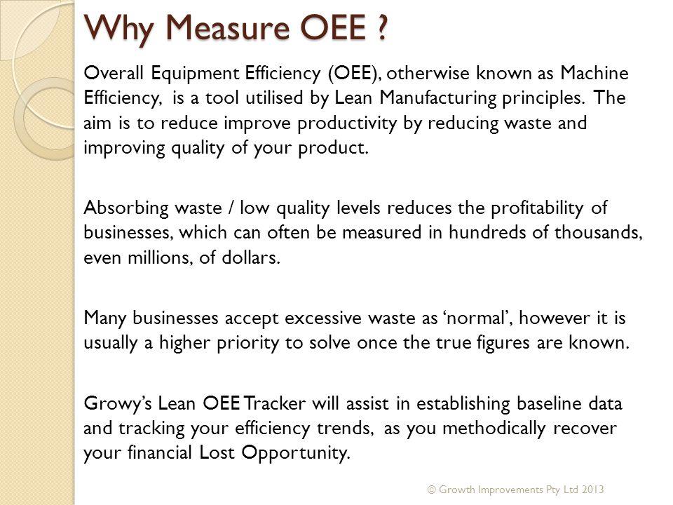 Why Measure OEE