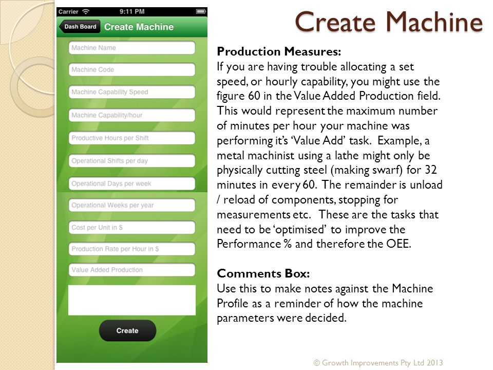 Create Machine Production Measures: