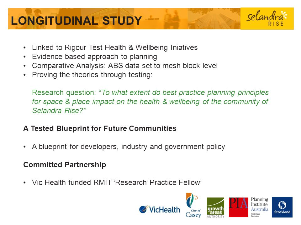 LONGITUDINAL STUDY Linked to Rigour Test Health & Wellbeing Iniatives
