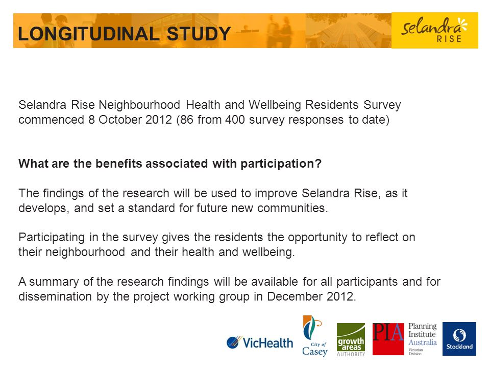 LONGITUDINAL STUDY Selandra Rise Neighbourhood Health and Wellbeing Residents Survey commenced 8 October 2012 (86 from 400 survey responses to date)